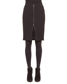 Zip-Front Zip-Pocket Pencil Skirt