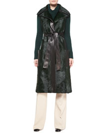 Sleeveless Calf Fur Leather-Trim Coat, Teal