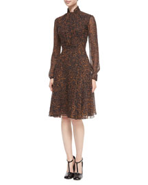 Tie-Neck Leopard-Print Chiffon Dress