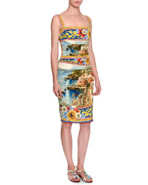 Sorrento Sleeveless Ruched Tank Dress, Yellow/Blue/Multi
