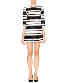 Sequin-Stripe Shift Dress, Blue/White/Black