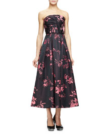 Strapless Draped-Bodice Tea-Length Gown, Black/Pink