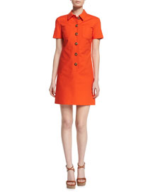 Short-Sleeve Button-Front Polo Dress, Sienna