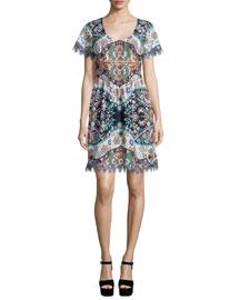 Short-Sleeve Pleated-Waist Dress, Navy