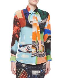 Libertine Airways Front-Tie Blouse, Multi Colors