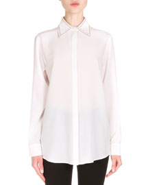 Studded Collar Crepe de Chine Blouse