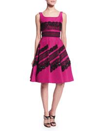 Sleeveless Embellished-Lace Dress, Magenta/Black