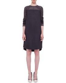 Circle-Embroidered Shift Dress, Black