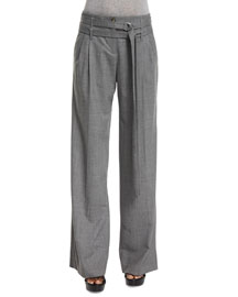Pleated-Front Wide-Leg Belted Pants, Banker Melange