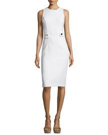 Sleeveless Button-Waist Sheath Dress, White