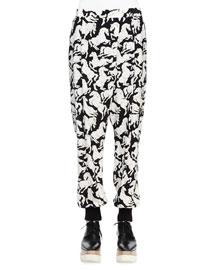 Horse-Print Silk Harem Pants, Black