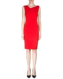 Grainger Crepe Sheath Dress, Berry Red