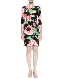 Ada Floral-Print Sheath Dress, Black