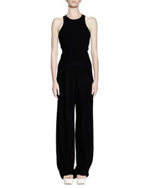 Sleeveless Racerback Fluid-Pant Jumpsuit, Black