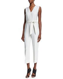 Sleeveless Belted Slim-Leg Jumpsuit, Ivory