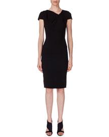 Gylia V-Neck Sheath Dress, Black