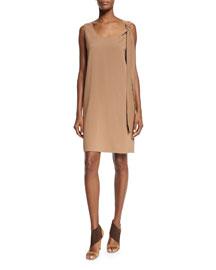 Sleeveless Shoulder-Tie Shift Dress, Phard Brown