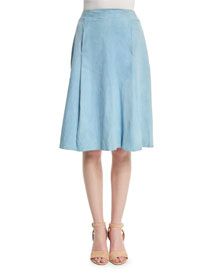 Suede A-Line Knee-Length Skirt, French Blue