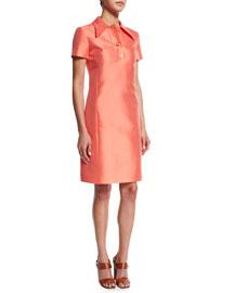Short-Sleeve Polo Dress, Persimmon