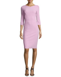 Scuba-Knit 3/4-Sleeve Sheath Dress, Lavender