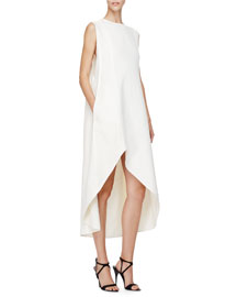Sleeveless A-Line High-Low Dress, Pearl