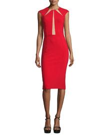 Cap-Sleeve Contrast-Inset Sheath Dress, Crimson