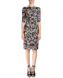 Kirsten Floral-Print Sheath Dress, Pink Multi