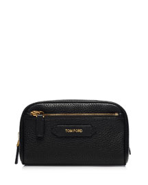 Small Leather Cosmetics Bag, Black