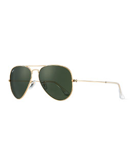 Ray-Ban Classic Aviator Sunglasses, Gold/Green
