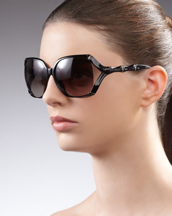 Square Plastic Bamboo-Shaped Sunglasses
