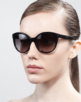Prada Rounded Cat-Eye Sunglasses, Havana/Ivory