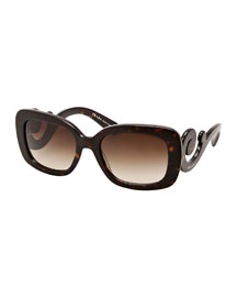 Curved-Temple Sunglasses, Havana