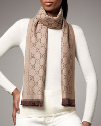 GG Pattern Scarf, Light Brown/Dark Brown