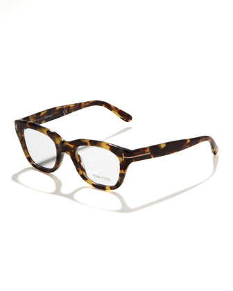 Unisex Semi-Squared Fashion Glasses, Brown/Pink