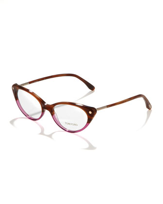 Cat-Eye Fashion Glasses, Striped Brown