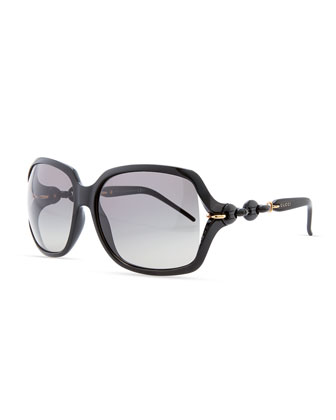 Open-Temple Square Sunglasses, Shiny Black