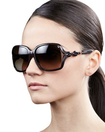 Open-Temple Square Sunglasses, Cocoa
