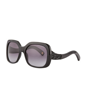 Crystal-Temple Oversized Square Sunglasses, Black