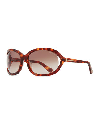 Vivienne Rounded Sunglasses, Purple Havana