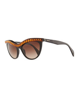 Prada Amber Crystal-Encrusted Cat-Eye Sunglasses, Havana/Black