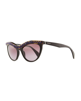 Purple Crystal-Encrusted Cat-Eye Sunglasses, Havana/Black