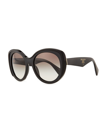 Oval Cat-Eye Sunglasses, Black
