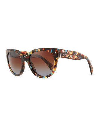 Cat-Eye Retro Rectangle Sunglasses, Spotted Blue