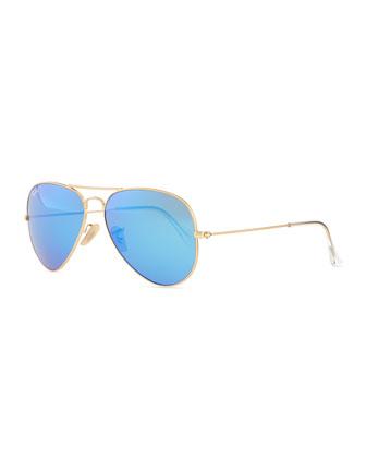 Aviator Sunglasses with Flash Lenses, Gold/Blue Mirror