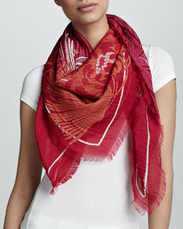 Gucci Ladigue Runway Print Scarf, Magenta