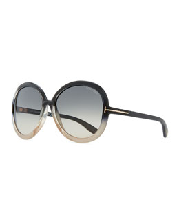 Tom Ford Candice Butterfly Plastic Sunglasses, Pearl/Sand