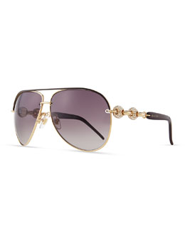 Gucci Crystal-Temple Aviator Sunglasses