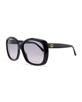 Plastic Square Sunglasses, Shiny Black