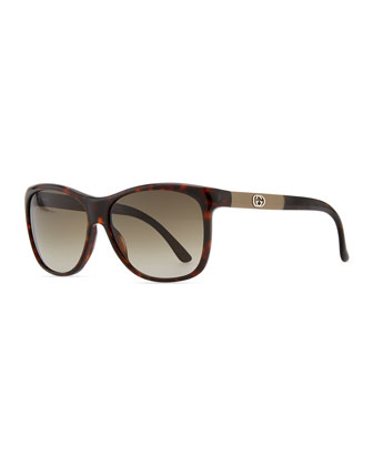 Gradient Havana Sunglasses, Red/Brown