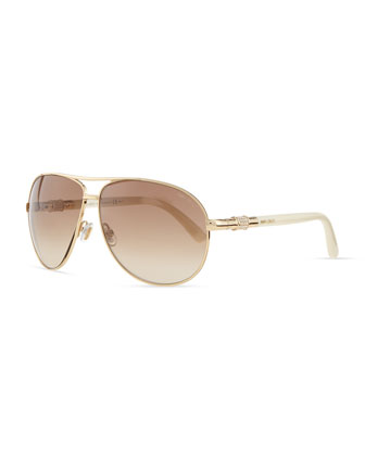Walde Crystal-Temple Aviator Sunglasses, Ivory
